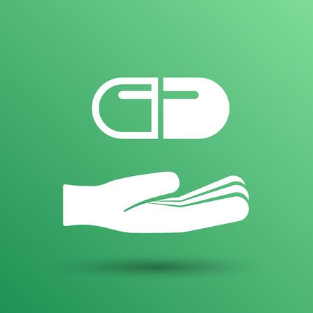 simbolo medicina: holding icono de la salud la medicina s�mbolo tableta p�ldora mano.