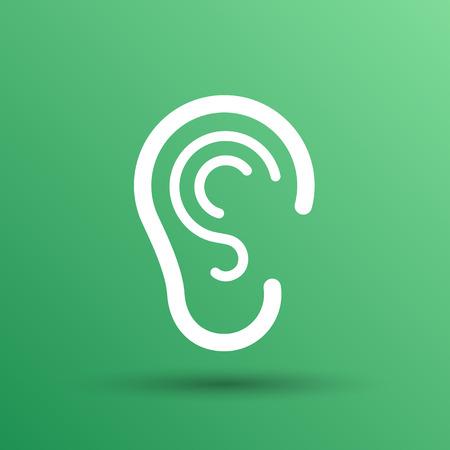 hear: ear icon listen vector hear deaf human sign.