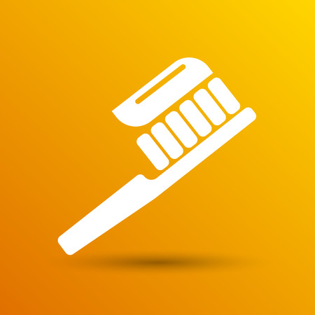 paste: Toothbrush With Paste brush icon vector isolated human paste. Illustration