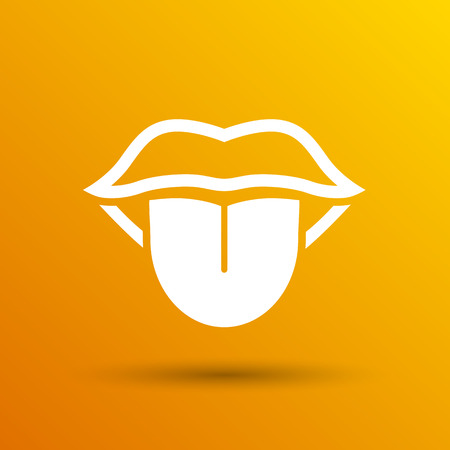 lick: Tongue icon vector isolated human fun anatomical.