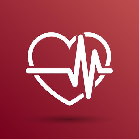 tętno: Heartbeat Badanie echokardiograficzne serca egzamin formie serca i bicie serca. Ilustracja