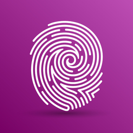 Fingerprint icon finger print vector id theft macro stamp. Ilustracja