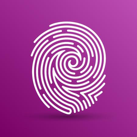 Icono de la huella digital del vector Identificación del robo de la huella digital macro sello. Foto de archivo - 43712521