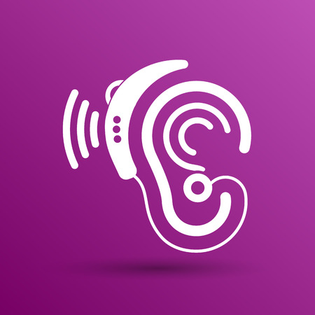 aid: Ear vector icon hearing aid ear listen sound graphics.