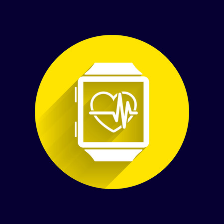 pulsating: Vector illustration pulsometer heart rate monitor watch icon.