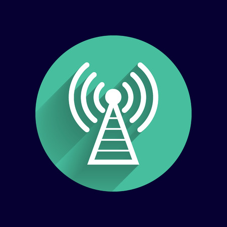 radio mast: Antenna icon tower radio mast signal antenna vector network. Illustration