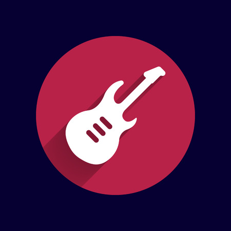 strumming: guitar icon with long shadow melody electric.
