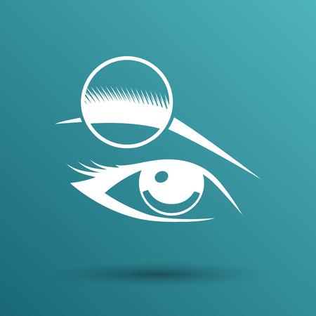 eyesight: Human eye vector isolated eyebrow female makeup beauty eyesight.