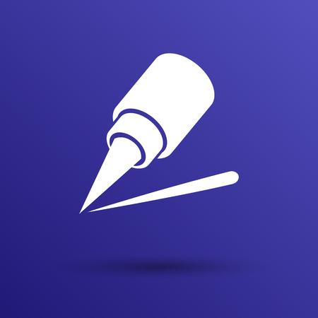 eyeliner: eyeliner brush icon pencil makeup girl fashion. Illustration