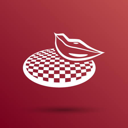 puckered: Ruby vector lips - white area of lips is transparent Illustration