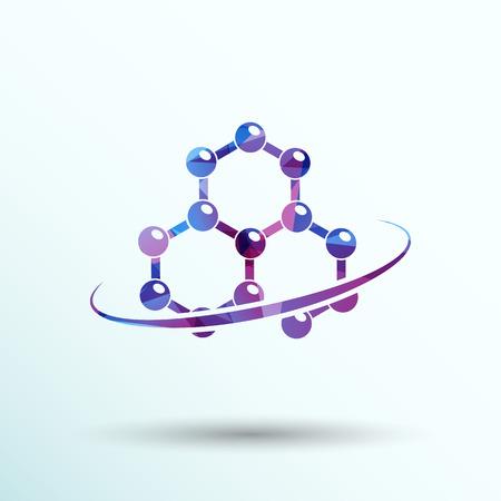 logo medicina: Molécula icono átomo símbolo del elemento vector química. Vectores