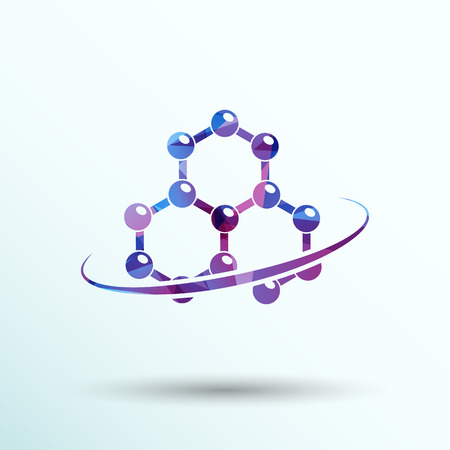 molecular biology: Molecule icon atom chemistry vector symbol element.