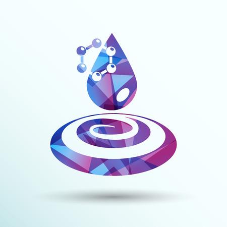 molecula de agua: agua mol�cula qu�mica del agua icono s�mbolo del �tomo.