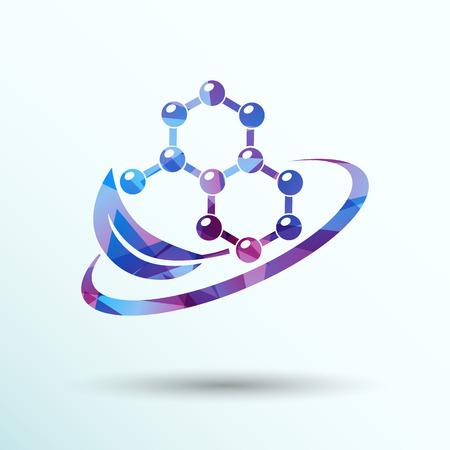 dissolving: Natural components icon vector molecule illustration science nature .