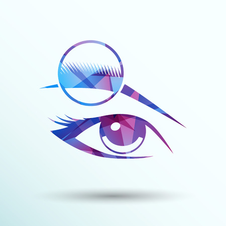 eyebrow makeup: Human eye vector isolated eyebrow female makeup beauty eyesight.