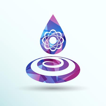 physical chemistry: chemical icons icon drop water element formula symbol atom gene. Illustration