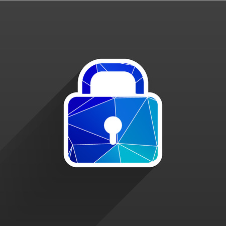 blocked: Blue lock icon with protection key password blocked privacy Illustration