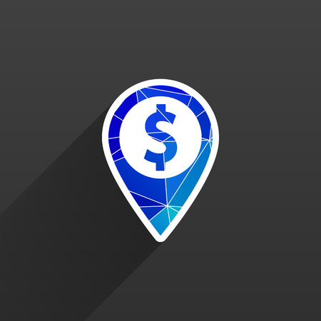 dollar sign icon: Map pointer with dollar sign icon money Illustration