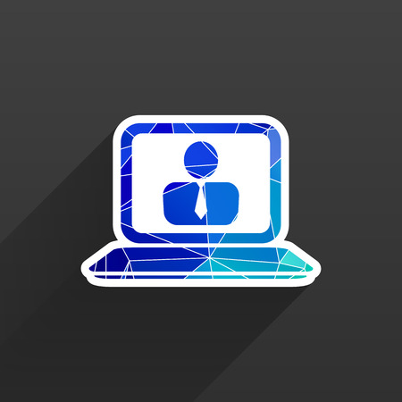 laptop isolated: office work icon laptop isolated human sitting business vector Illustration