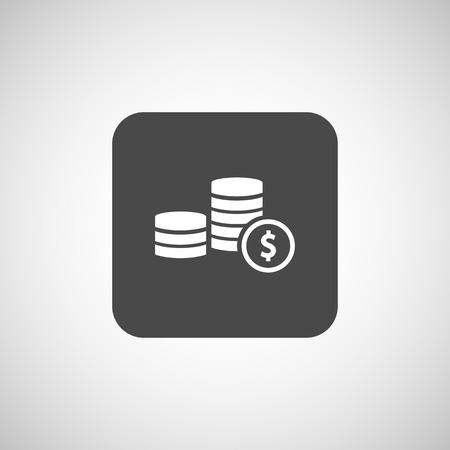 stack of coins: icon coin white business vector sign wealth finance