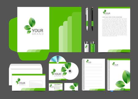 papírnictví: Květinový design papírnictví šablona se zelenými listy. Dokumentace pro podnikání. Ilustrace
