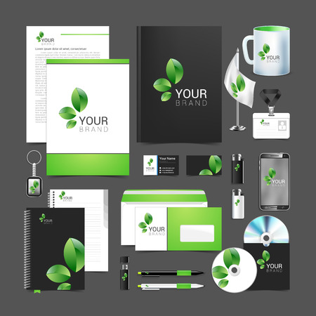 documentation: Floral stationery template design with green leaves. Documentation for business.