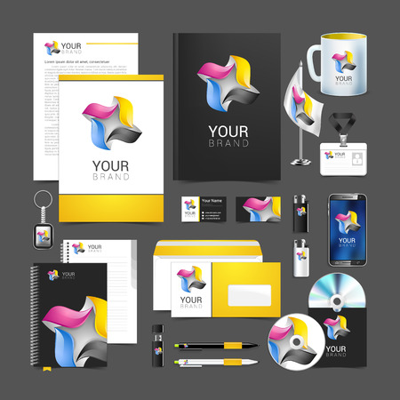 business card template: Corporate identity template color company style for brandbook. Illustration