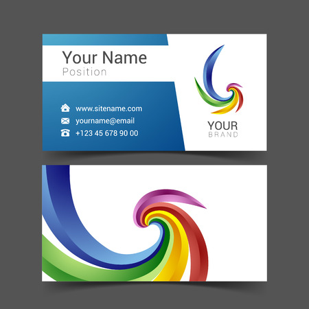 blue design: business card creative design template Corporate Identity logo.
