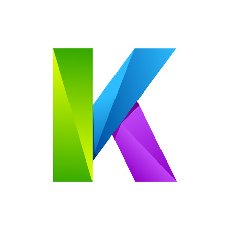 wave logo: K letter one line colorful logo. Vector design template elements an icon for your application or company
