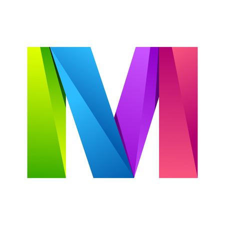 m: M letter one line colorful logo. Vector design template elements an icon for your application or company