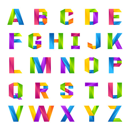 Fun english alphabet one line colorful letters set. Font style, vector design template elements for your application or company. Vectores