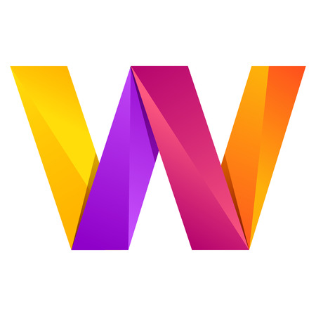 W letter one line colorful logo. Vector design template elements an icon for your application or company Illustration