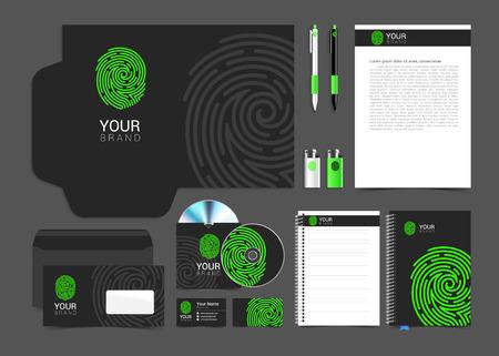 corporate gift: Stationery set design Gift set template Corporate identity design fingerprint.
