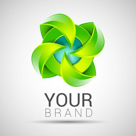 infinite shape: Eco green leaf logo template Infinite shape Green leaves loop Ecology icon Vector Editable