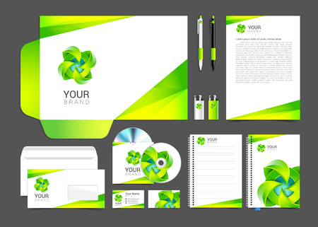 White corporate identity template design green  turquoise Business stationery.