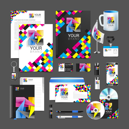 cmyk Corporate Identity stationery template design abstract symbol.