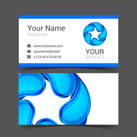 wetness: Business Card with water drop. Vector illustration.