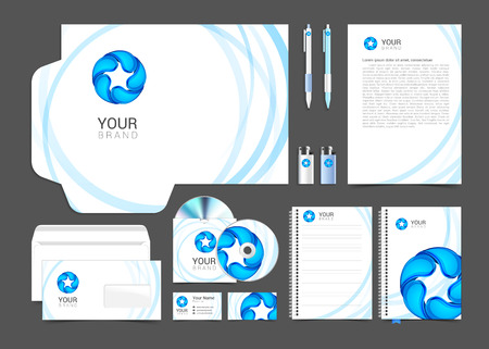 guideline: Gray corporate identity template with water drop. Vector company style brandbook guideline.