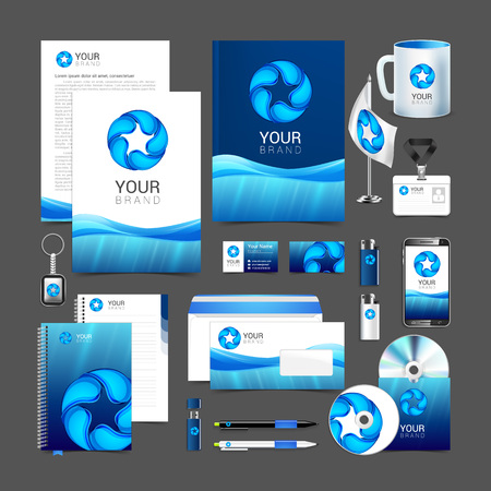 company: Gray corporate identity template with water drop. Vector company style brandbook guideline.