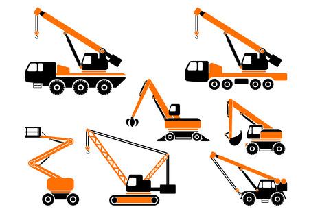 heavy construction: Set of heavy construction machines. Vector illustration.