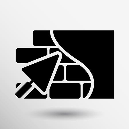 Backsteinmauer Kelle icon button logo Symbol Konzept. Illustration