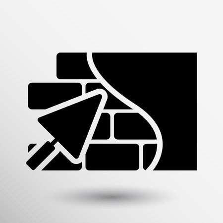 Brick wall trowel icon button logo symbol concept.