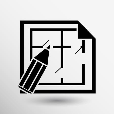 plan maison: House plan icon vector icon button logo symbol concept.