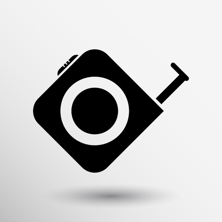 Tape measure icon Roulette construction vector button logo symbol concept.