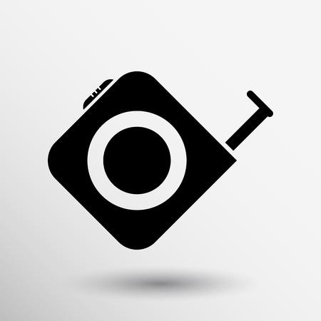 inches: Tape measure icon Roulette construction vector button logo symbol concept.