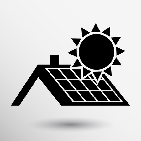 roof: solar panels roof icon vector button logo symbol concept. Illustration