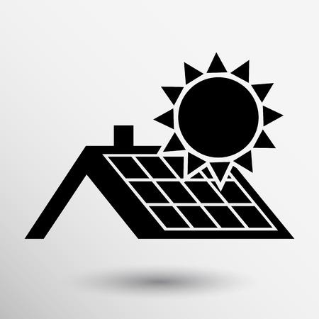 Sonnenkollektoren Dach-Symbol Vektor-Button-Logo-Symbol Konzept.