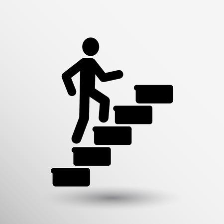 l'homme sur les escaliers icône vecteur logo du bouton symbole concept.