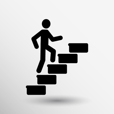 upstairs: man on stairs icon vector button logo symbol concept.
