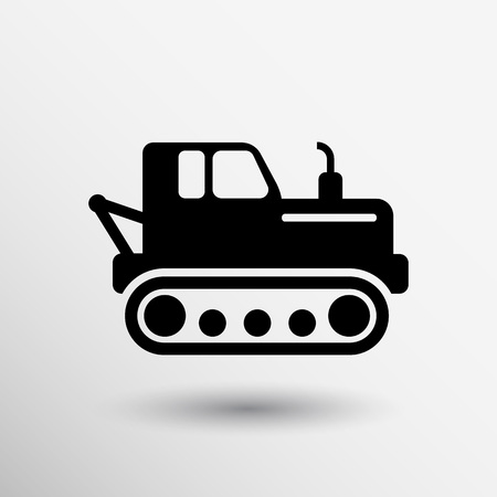 dredging tools: crawler tractor icon vector button logo symbol concept.